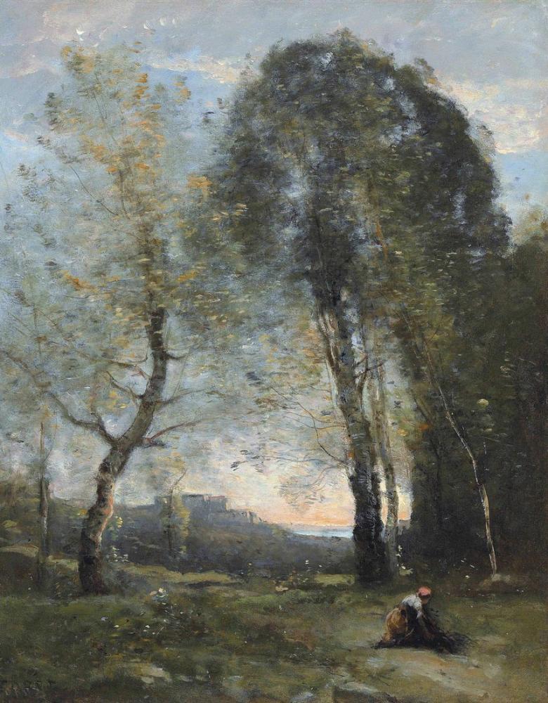 Camille Corot İtalya Hatıra Ahşap Toplayan Köylü, Kanvas Tablo, Camille Corot