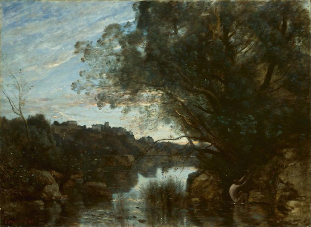 Camille Corot Nemi Gölü Çevresinin Hatırası, Kanvas Tablo, Camille Corot