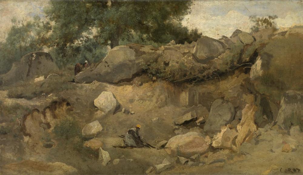 Camille Corot Taş Madeni Sandalyesi Marie Fontainebleau, Kanvas Tablo, Camille Corot