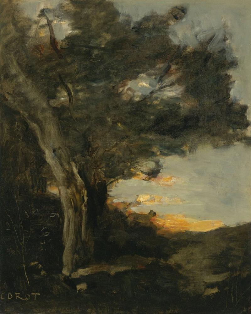 Camille Corot Bir Dişi Aslan İle Gün Batımı, Kanvas Tablo, Camille Corot