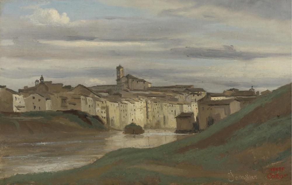 Camille Corot Tiber Kıyısında Roma, Kanvas Tablo, Camille Corot