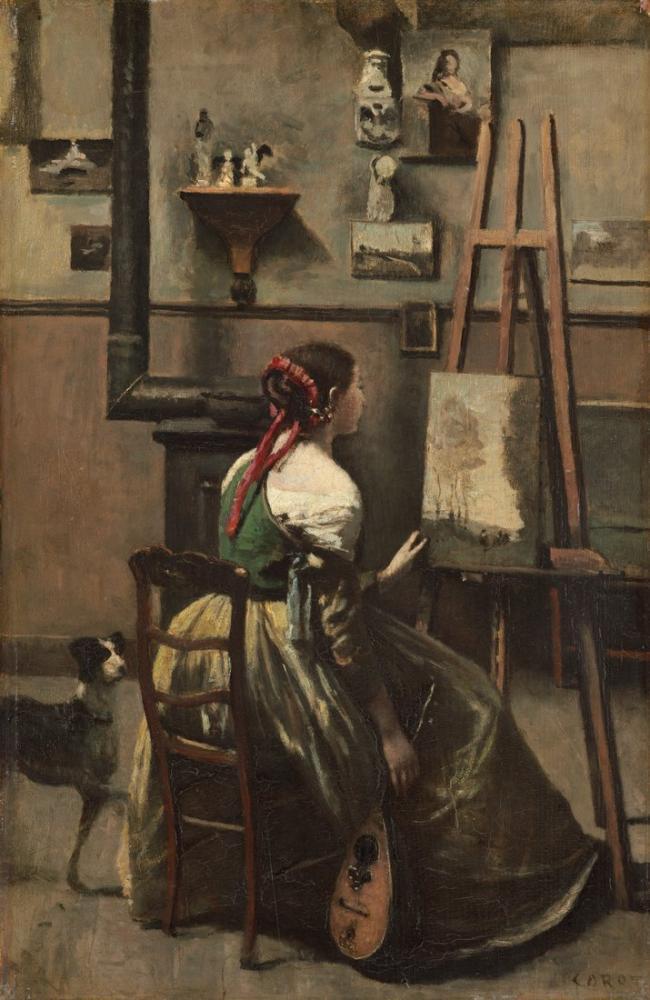 Camille Corot The Artist Studio, Canvas, Camille Corot, kanvas tablo, canvas print sales