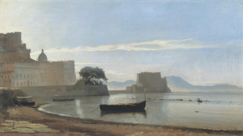 Camille Corot The Bay Of Naples With The Castel Dell Ovo, Canvas, Camille Corot, kanvas tablo, canvas print sales