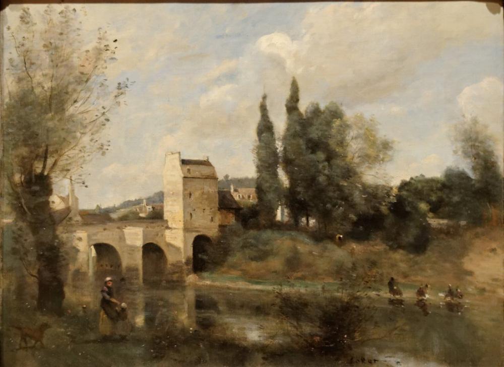 Camille Corot Mantes Köprüleri, Kanvas Tablo, Camille Corot