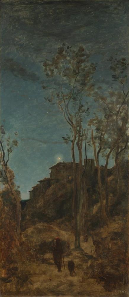 Camille Corot Günün Dört Saati Gece, Kanvas Tablo, Camille Corot