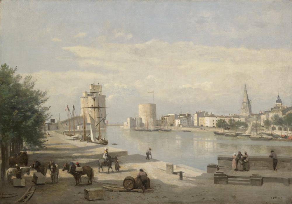 Camille Corot La Rochelle Limanı, Kanvas Tablo, Camille Corot