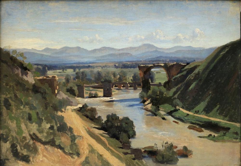 Camille Corot Roma Yakınlarındaki Narni Köprüsü, Kanvas Tablo, Camille Corot