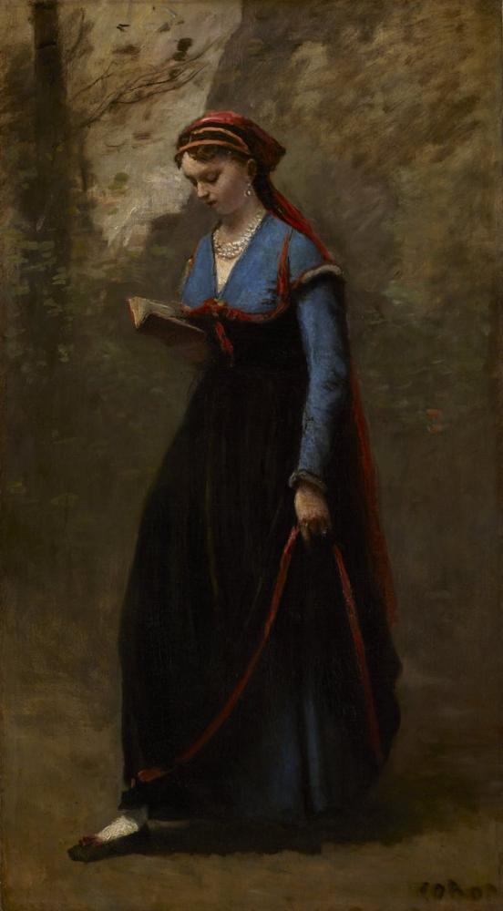 Camille Corot Okuyucu, Kanvas Tablo, Camille Corot