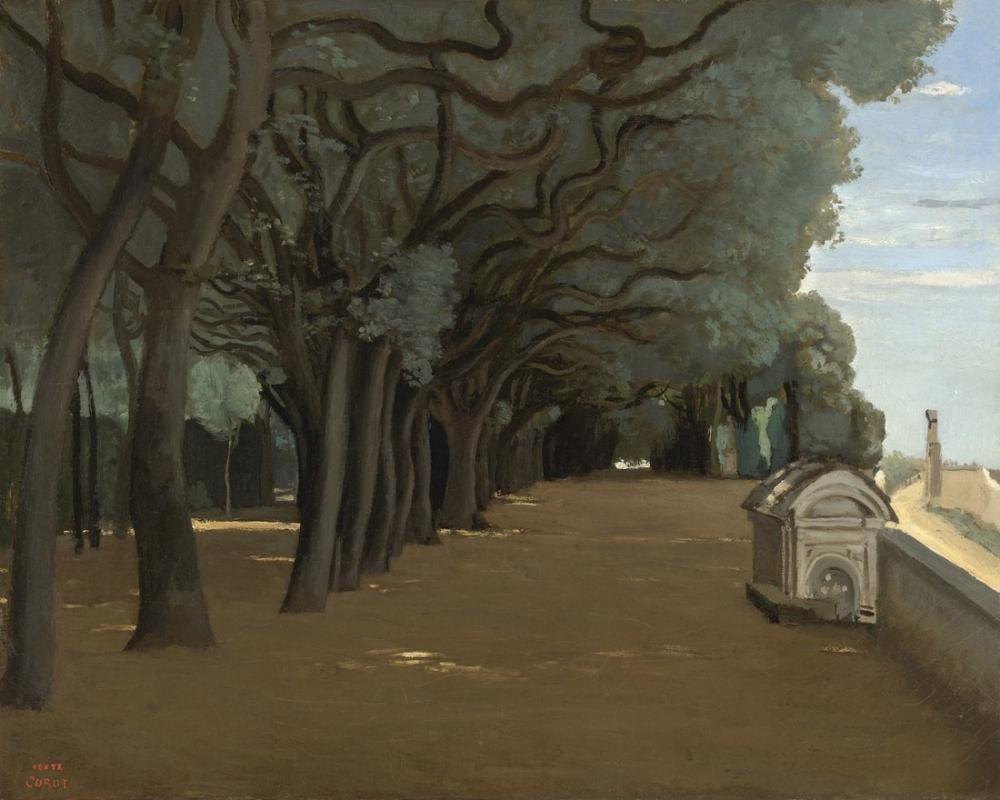 Camille Corot Villa Doria Pamphili Terasları, Kanvas Tablo, Camille Corot