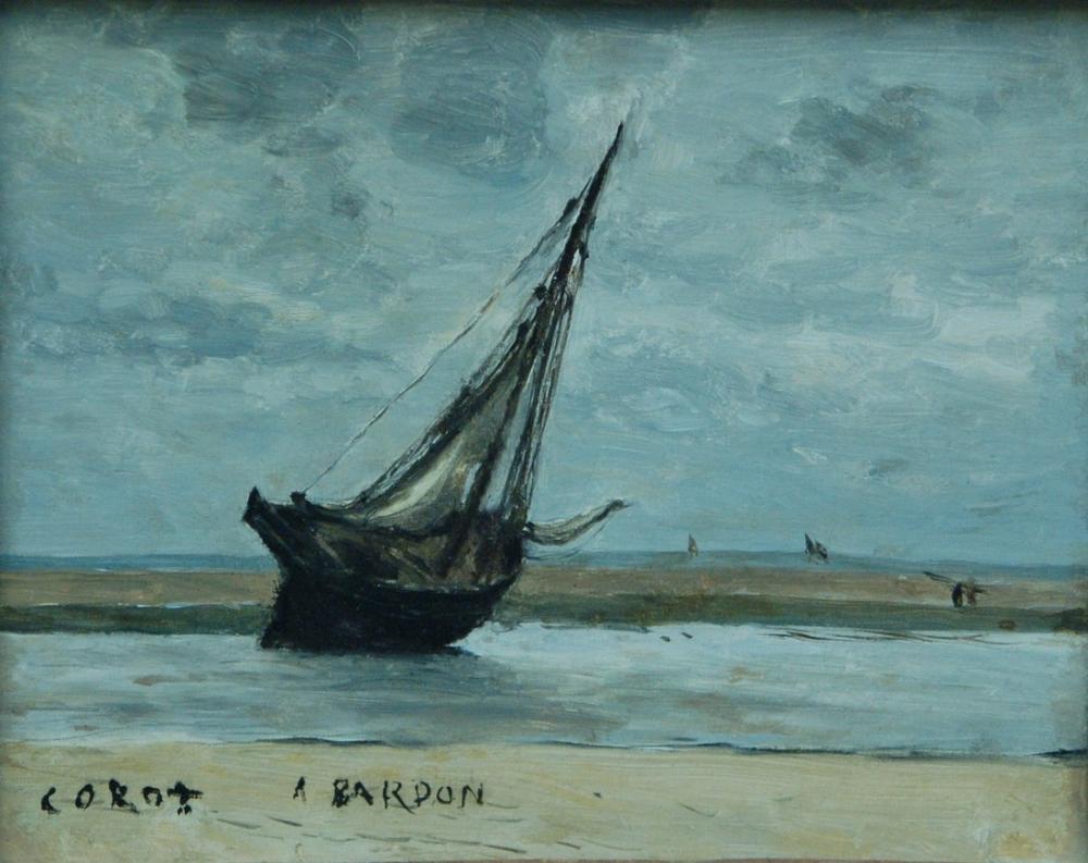 Camille Corot Trouville Teknesinde Mahsur Kaldı Düşük Gelgitli Balıkçı Teknesi, Kanvas Tablo, Camille Corot