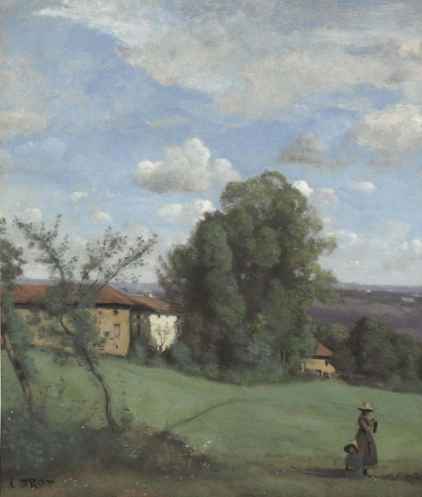 Camille Corot Bir Dardagny Çiftliği, Kanvas Tablo, Camille Corot