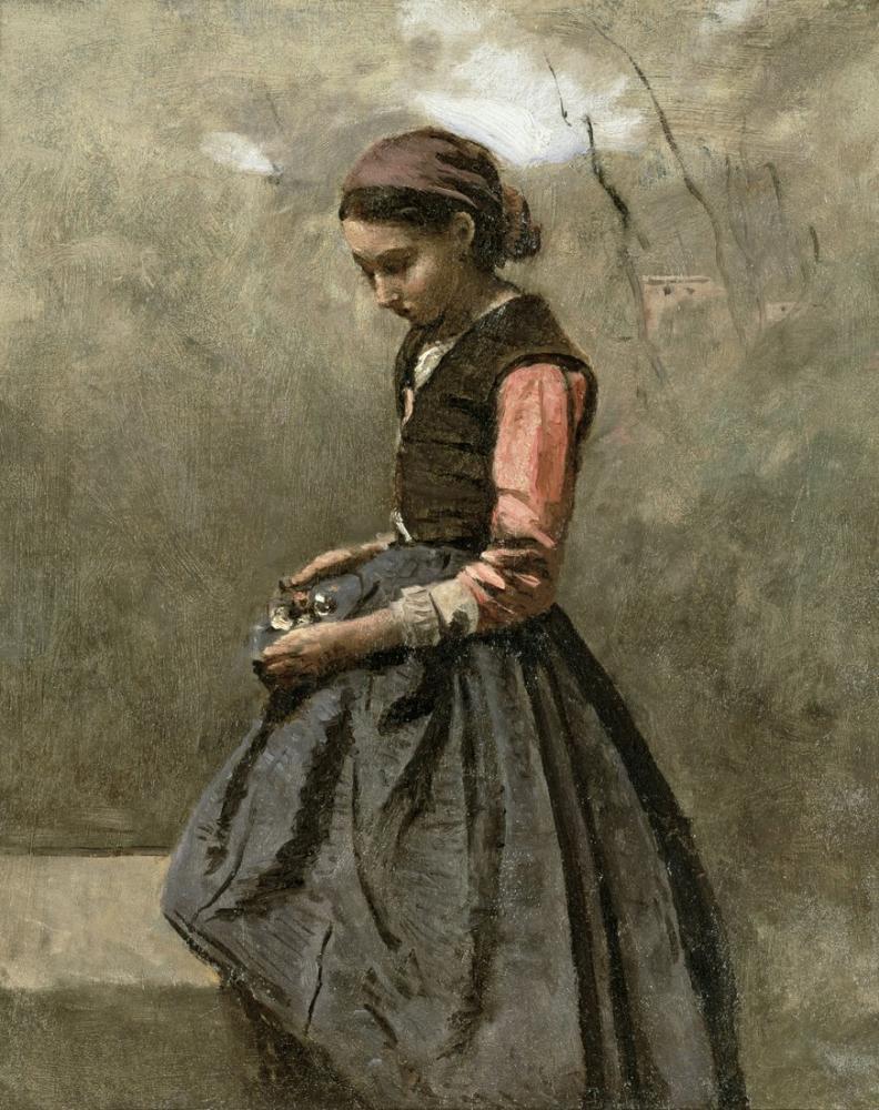 Camille Corot Dalgın Bir Kız, Kanvas Tablo, Camille Corot