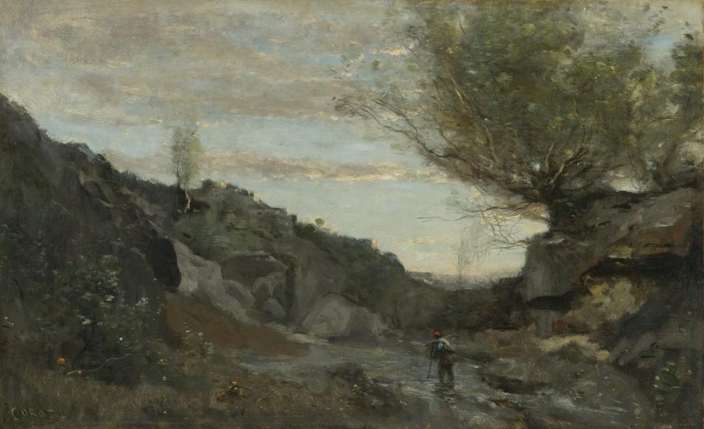Camille Corot Abruzzo Bir Sel, Kanvas Tablo, Camille Corot