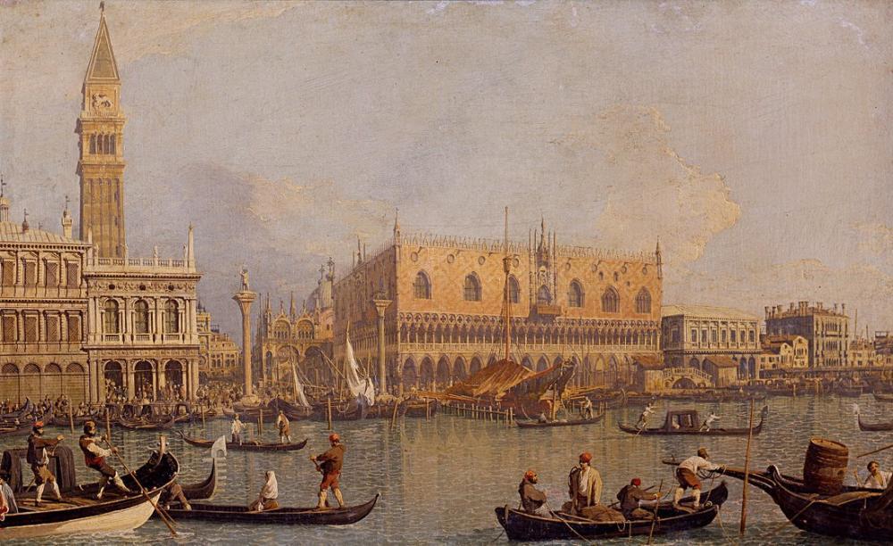 Camille Corot Palazzo Ducale Canaletto Manzarası Venedik, Kanvas Tablo, Camille Corot