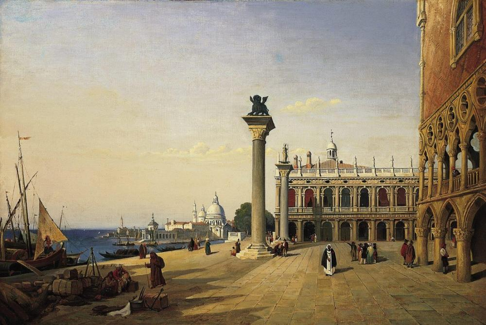 Camille Corot Venise La Piazetta, Kanvas Tablo, Camille Corot