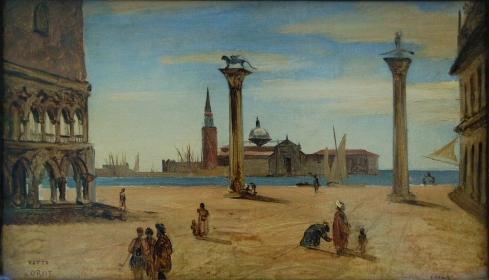 Camille Corot Venise La Piazzetta, Kanvas Tablo, Camille Corot