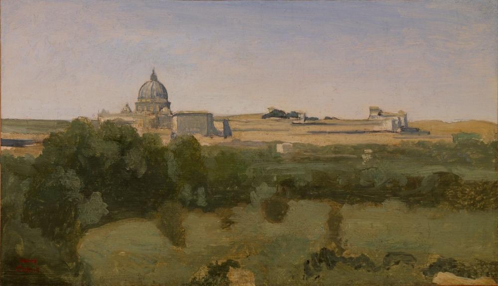 Camille Corot Monte Pincio Roma manzarası, Kanvas Tablo, Camille Corot