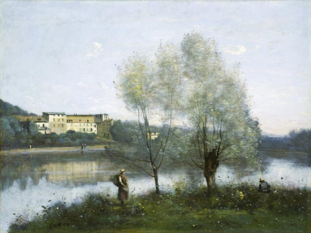 Camille Corot Ville Davray III, Kanvas Tablo, Camille Corot