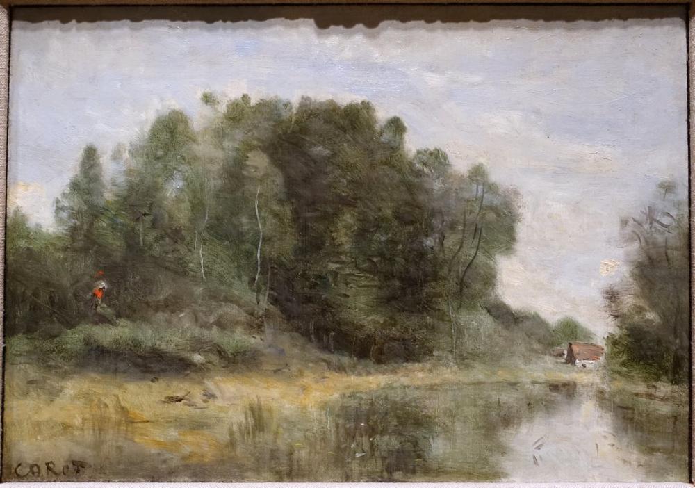 Camille Corot Havuzun Kenarında Ville Davray, Kanvas Tablo, Camille Corot