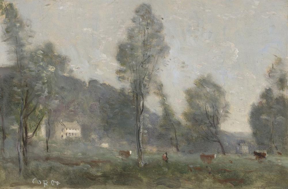 Camille Corot Ville Davray Çayır, Kanvas Tablo, Camille Corot