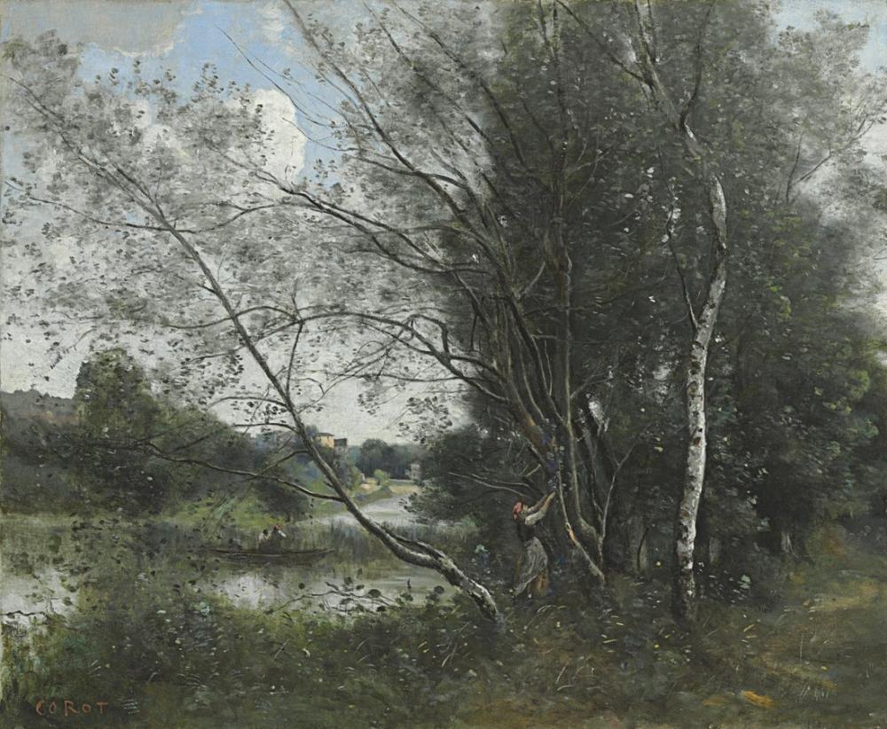 Camille Corot Ville Davray Gölet Ağaca Yaslanmış, Kanvas Tablo, Camille Corot