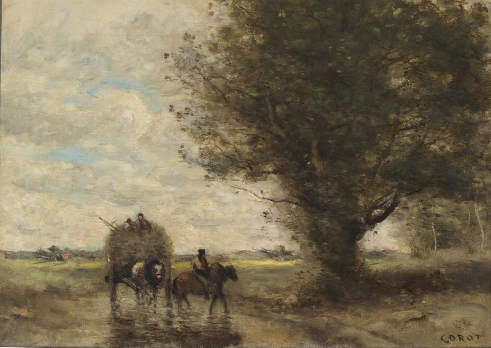 Camille Corot Ford Geçiş Arabası Vagon, Kanvas Tablo, Camille Corot