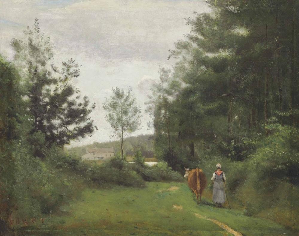 Camille Corot Ville Davray İneğiyle Yürüyen Köylü, Kanvas Tablo, Camille Corot