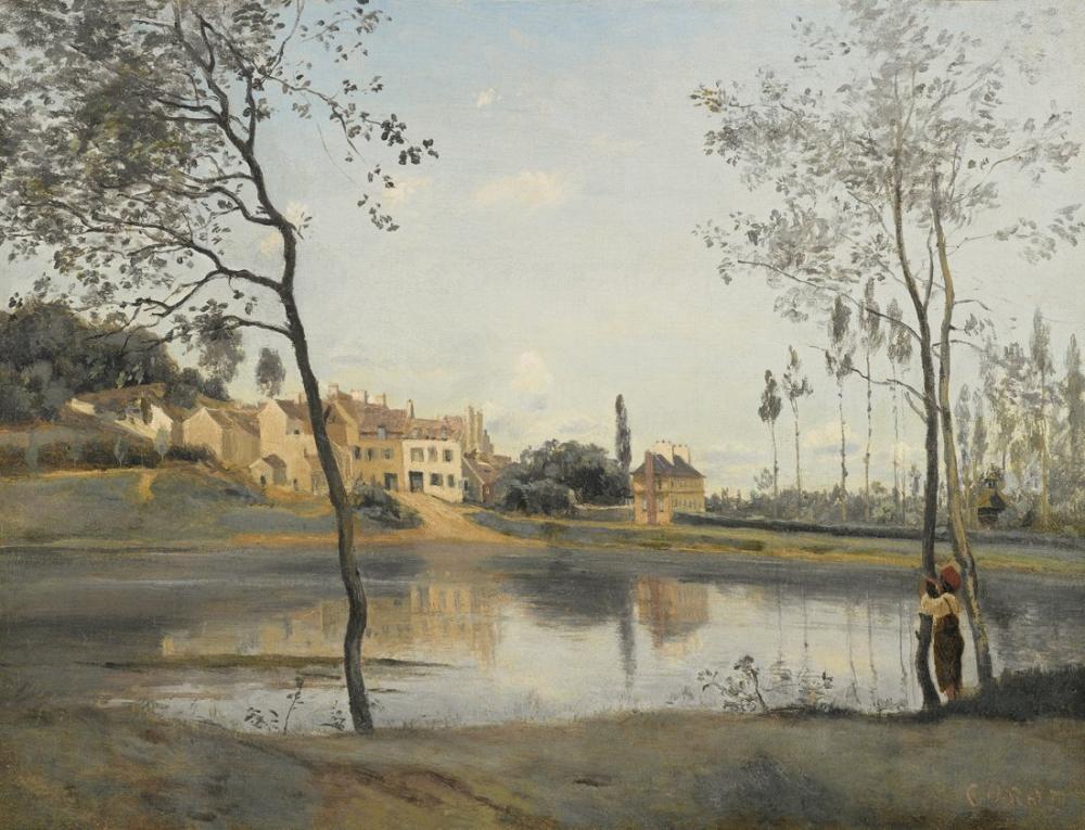 Camille Corot Ville Davray Gölet Ve Evleri, Kanvas Tablo, Camille Corot