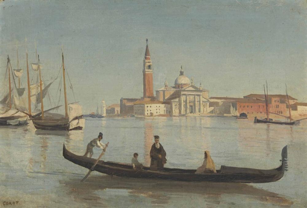 Camille Corot Venedik Gondol Yürüteç ile Görmek, Kanvas Tablo, Camille Corot