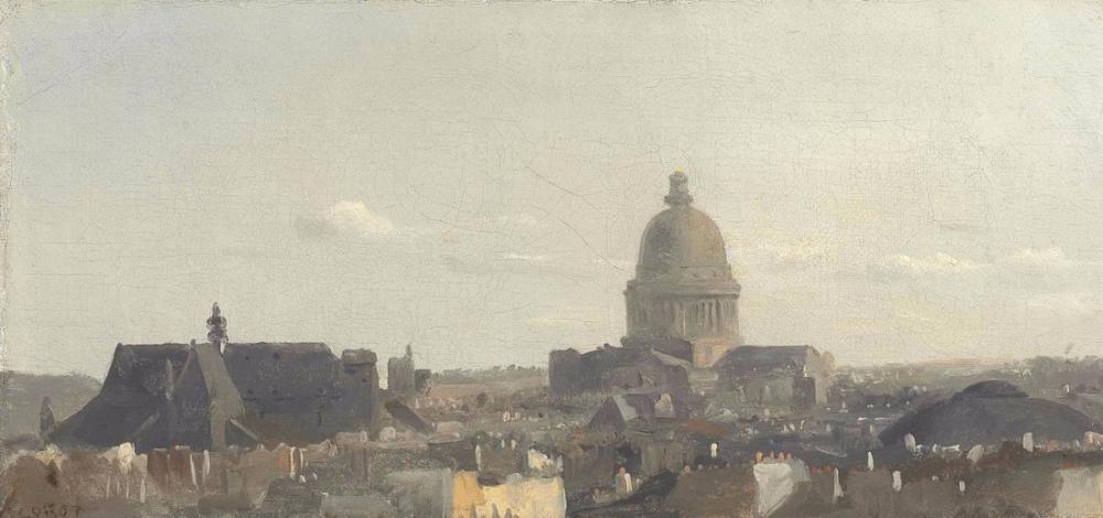 Camille Corot Paris Pantheon Görünümü, Kanvas Tablo, Camille Corot