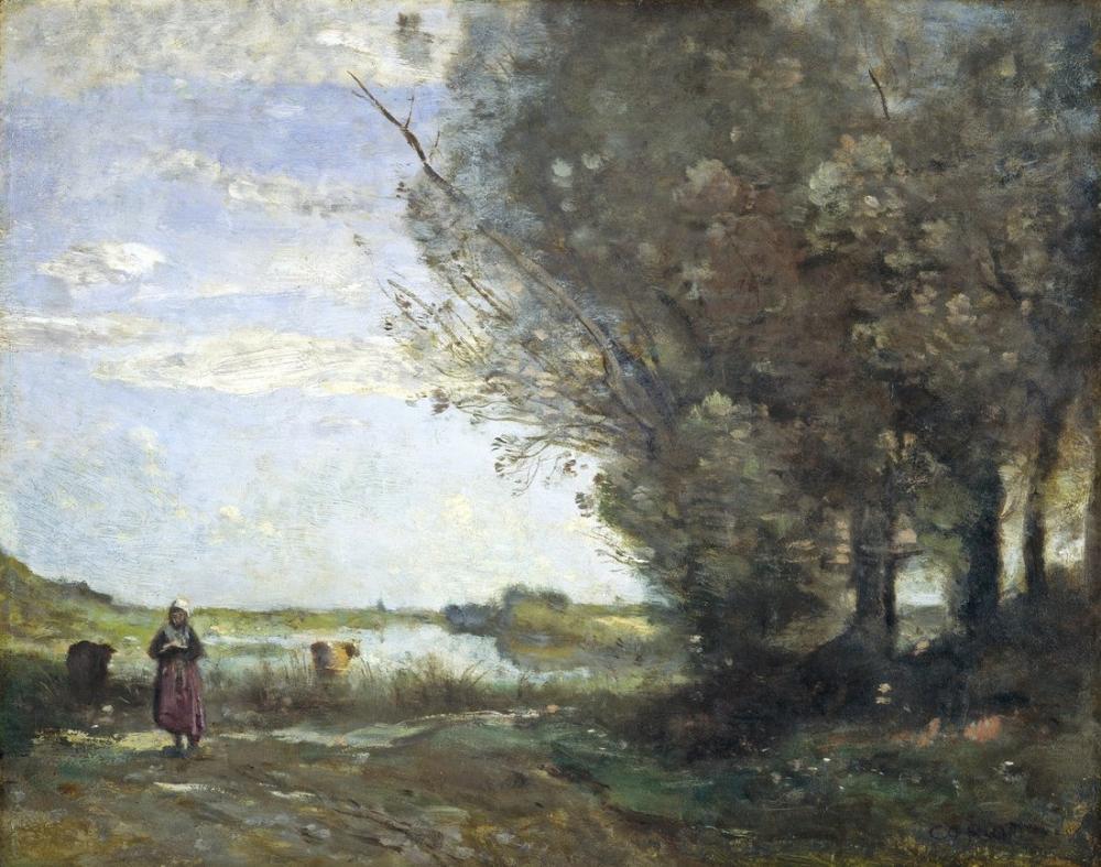Camille Corot Nehir Manzarası, Kanvas Tablo, Camille Corot