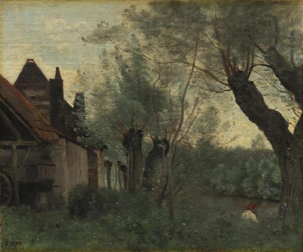 Camille Corot Söğüt Ve Çiftlik Evi Sainte Catherine Les Arra, Kanvas Tablo, Camille Corot
