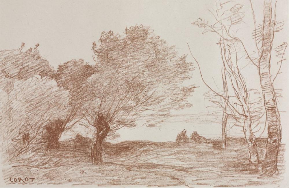 Camille Corot Söğütler ve Kavak, Kanvas Tablo, Camille Corot