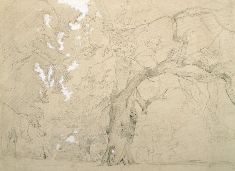 Camille Corot Büyük Bir Meşe Önünde Genç Adam, Kanvas Tablo, Camille Corot
