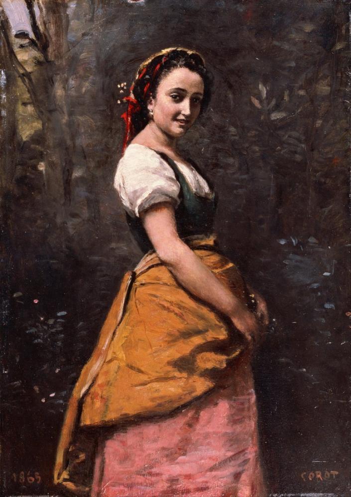 Camille Corot Ormanda Genç Kadın, Kanvas Tablo, Camille Corot