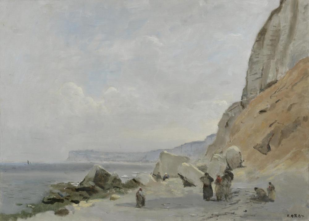 Camille Corot Yport Yakınındaki Tebeşir Kayalıkları, Kanvas Tablo, Camille Corot
