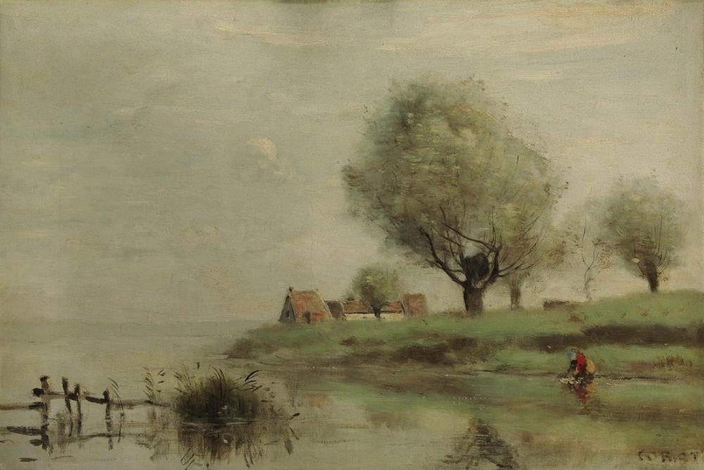 Camille Corot Suyun Kenarında Sazdan Evler, Kanvas Tablo, Camille Corot
