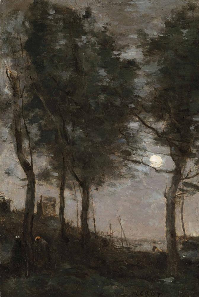 Camille Corot Deniz Kenarındaki Ay Işığı, Kanvas Tablo, Camille Corot