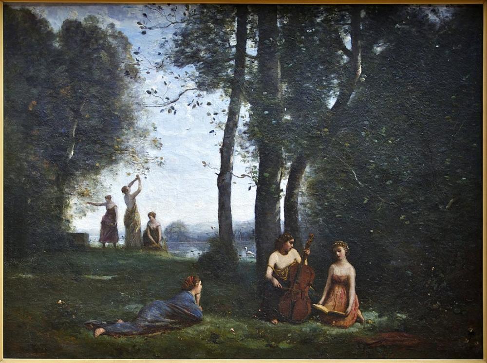 Camille Corot Kırsal Konser Conde Chantilly, Kanvas Tablo, Camille Corot