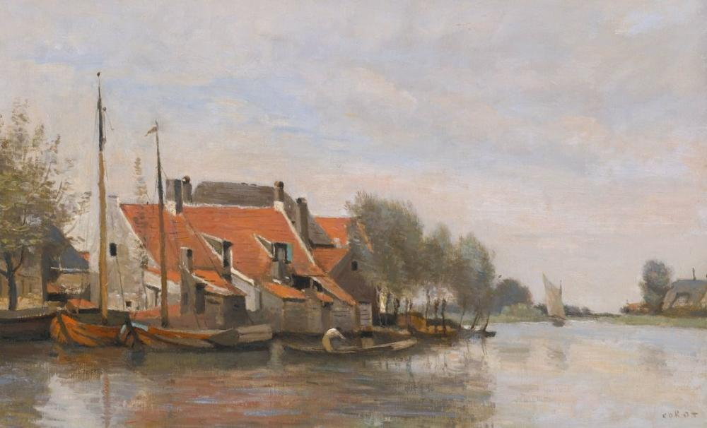 Camille Corot About Rotterdam Small Houses At The Edge Of A Canal, Canvas, Camille Corot, kanvas tablo, canvas print sales