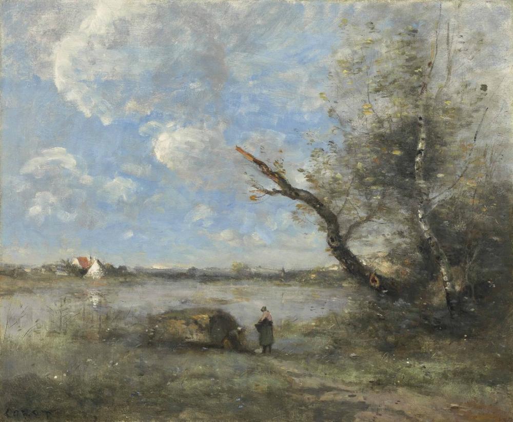 Camille Corot Mantes Çevresi Seine Ford, Kanvas Tablo, Camille Corot