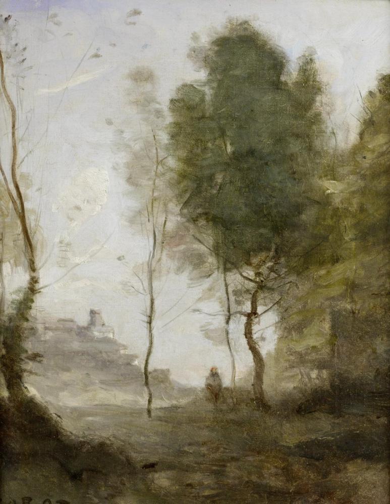 Camille Corot İtalya Peyzaj Çalışması Hatıra, Kanvas Tablo, Camille Corot