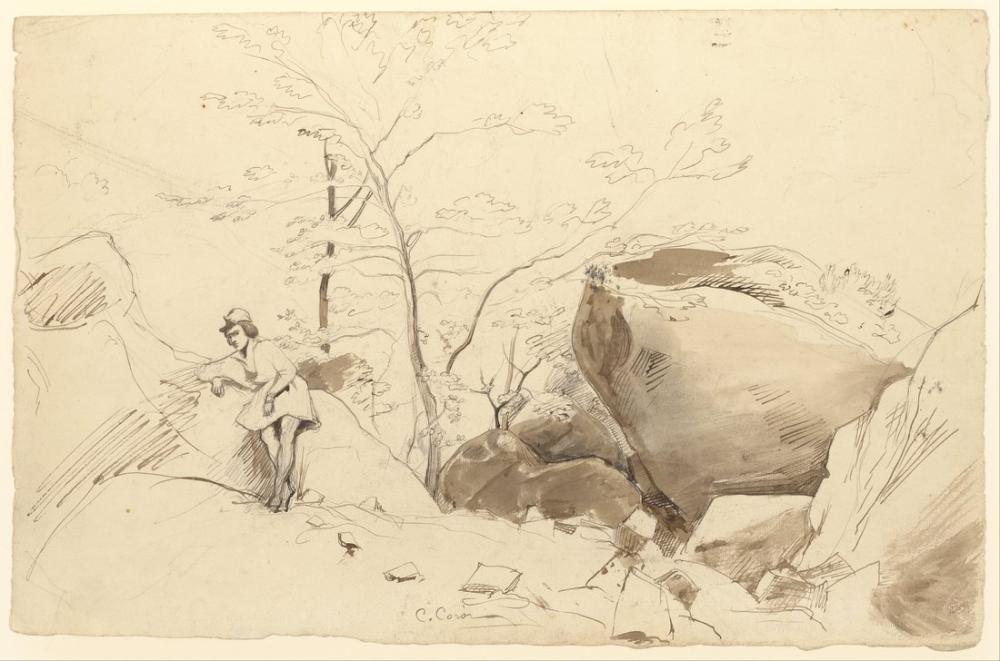 Camille Corot Fontainebleau Kayaya Yaslanmış Figür, Figür, Camille Corot