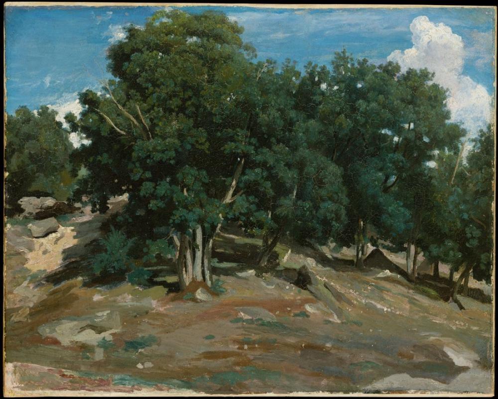 Camille Corot Fontainebleau Meşe Ağaçları Bas Bréau, Kanvas Tablo, Camille Corot
