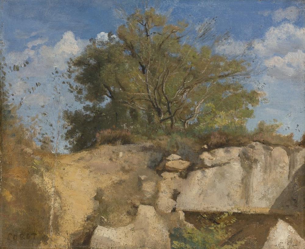 Camille Corot Ormancılık Ocağı Zirvesi Fontainebleau, Kanvas Tablo, Camille Corot
