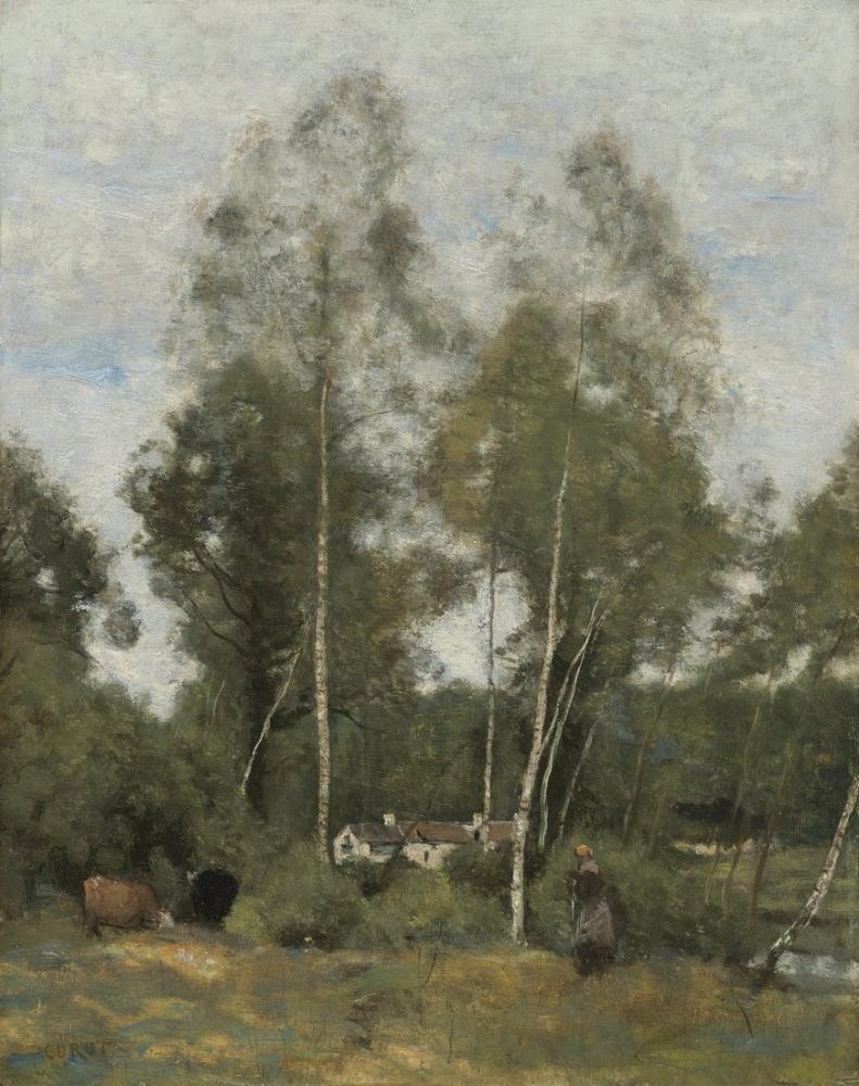 Camille Corot Ahşap Taş Glade Evaux Chateau Thierrys Çayırları, Kanvas Tablo, Camille Corot