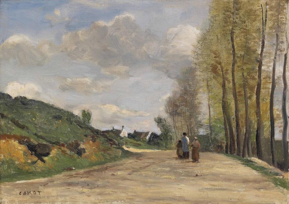 Camille Corot Gouvieux Chantilly The Road Yakınında, Kanvas Tablo, Camille Corot
