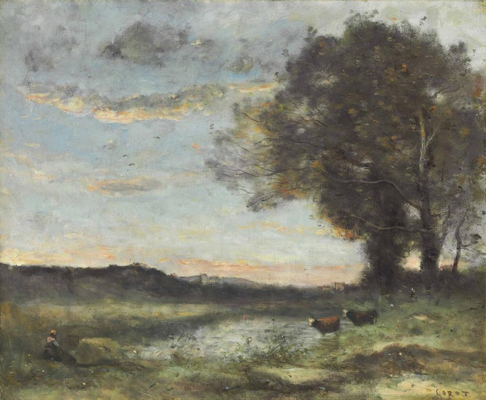 Camille Corot İki İnek İle Bir Bataklığın Kenarında Ağaç Grubu, Kanvas Tablo, Camille Corot