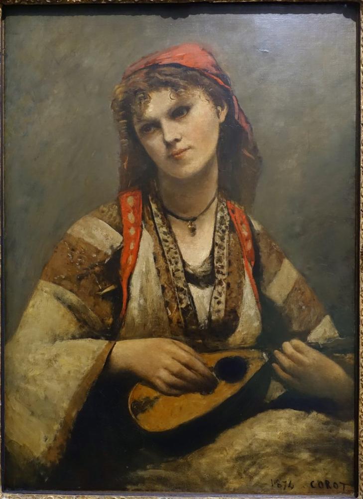 Camille Corot Bir Mandolin İle Çingene, Kanvas Tablo, Camille Corot