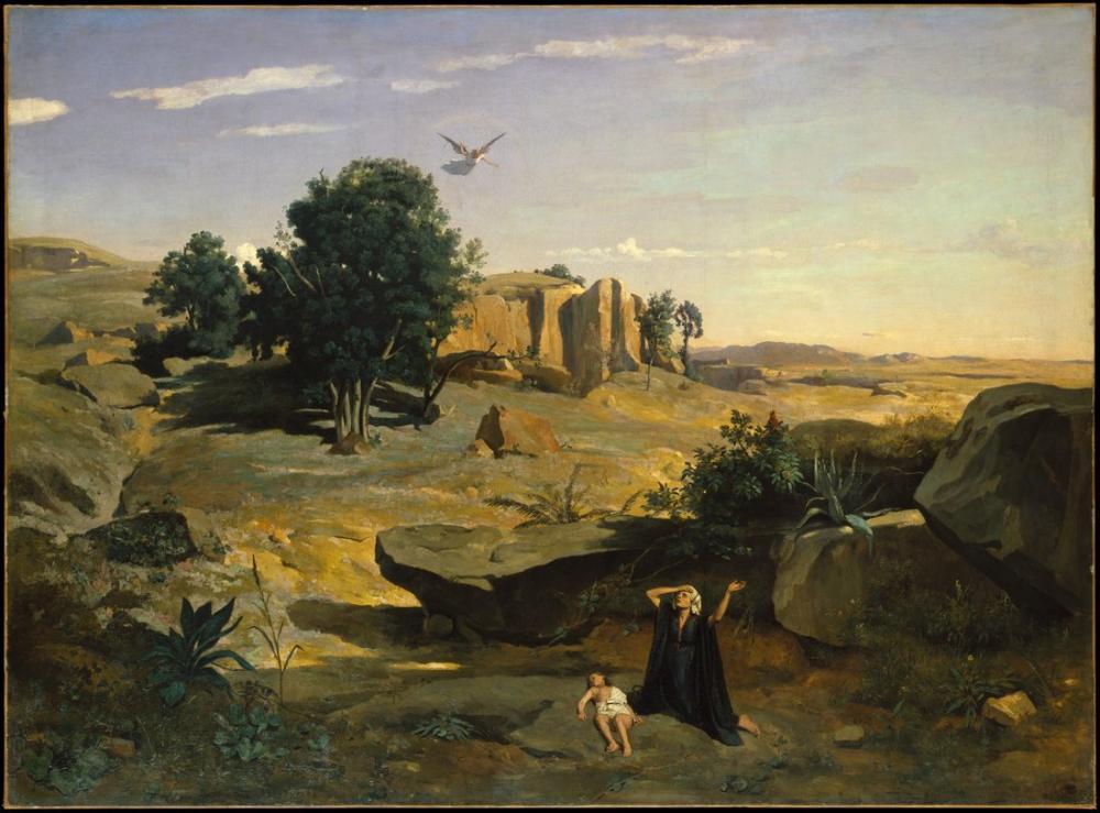 Camille Corot Vahşi Doğada Hagar, Kanvas Tablo, Camille Corot